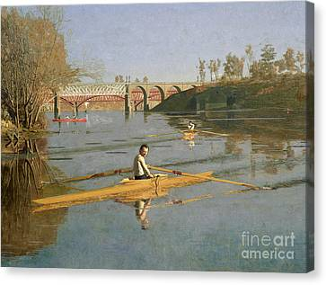 Max Schmitt In A Single Scull Canvas Print by Thomas Cowperthwait Eakins