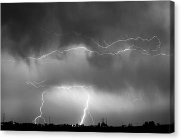 May Showers - Lightning Thunderstorm  Bw 5-10-2011 Canvas Print by James BO  Insogna