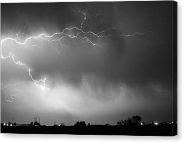May Showers 2 In Bw - Lightning Thunderstorm 5-10-2011 Boulder C Canvas Print by James BO  Insogna