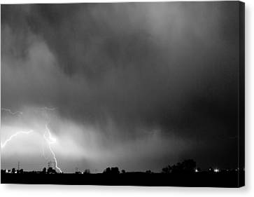 May Showers 3 In Bw - Lightning Thunderstorm 5-10-2011 Boulder C Canvas Print by James BO  Insogna