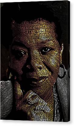 Maya Angelou Word Mosaic Canvas Print by Hans Fleurimont