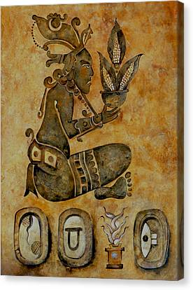 Mayan Corn God Canvas Print by Mary jane Miller