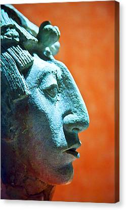 Mayan Sculpture Canvas Print by John  Bartosik
