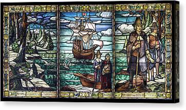 Mayflower Pilgrims In Stained Glass Canvas Print by John Haldane