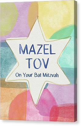 Mazel Tov On Your Bat Mitzvah- Art By Linda Woods Canvas Print by Linda Woods
