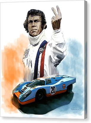Mcqueens Passion Le Mans Steve Mcqueen Canvas Print by Iconic Images Art Gallery David Pucciarelli