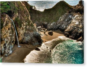 Mcway Falls Hwy 1 California Canvas Print by Connie Cooper-Edwards