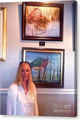 Me With Wailing Bird And Little Green Heron Canvas Print by AnnaJo Vahle