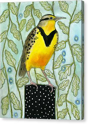 Meadowlark Black Dot Box Canvas Print by Blenda Tyvoll
