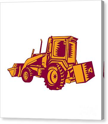 Mechanical Digger Excavator Woodcut Canvas Print by Aloysius Patrimonio