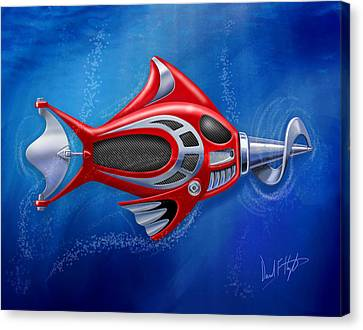 Mechanical Fish 1 Screwy Canvas Print by David Kyte