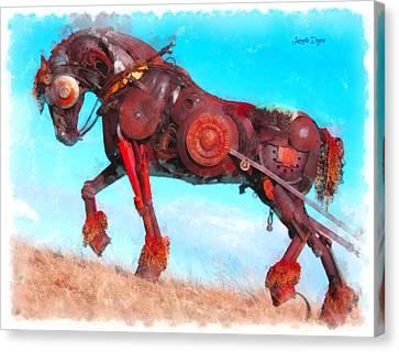 Mechanical Horse - Da Canvas Print by Leonardo Digenio
