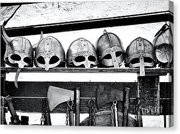 Medieval Helmets Canvas Print by Tim Gainey