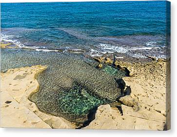 Mediterranean Delight - Maltese Natural Beach Pool With A Sleeping Giant Canvas Print by Georgia Mizuleva