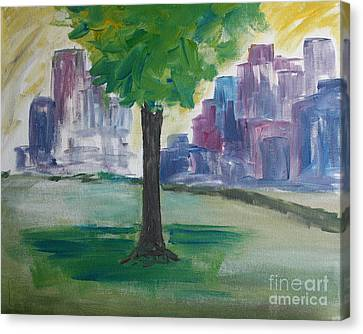 Meet Me By Our Tree In Central Park Canvas Print by Julie Lueders