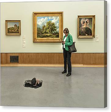 Meeting In The Museum Canvas Print by Herbert A. Franke