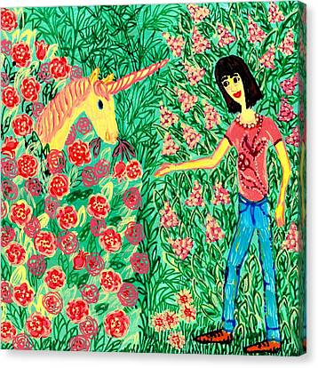 Meeting In The Rose Garden Canvas Print by Sushila Burgess