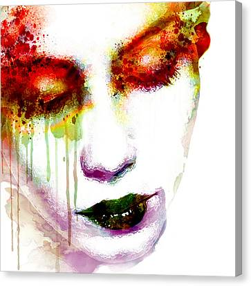 Melancholy In Watercolor Canvas Print by Marian Voicu