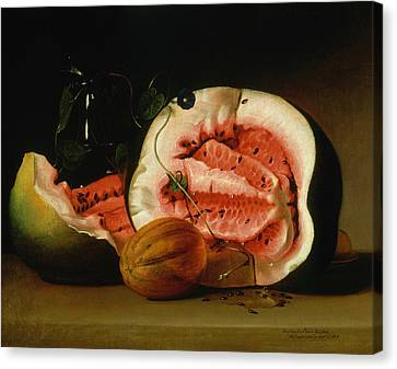 Melons And Morning Glories  Canvas Print by Raphaelle Peale