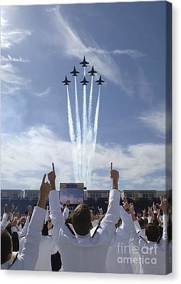 Members Of The U.s. Naval Academy Cheer Canvas Print by Stocktrek Images
