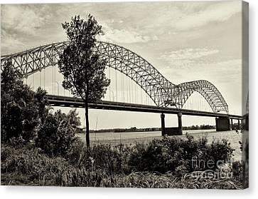 Memphis Bridge 1 Canvas Print by Miguel Celis
