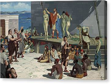 Men Bid On Women At A Slave Market Canvas Print by H.M. Herget