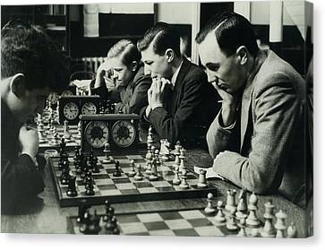Men Concentrate On Chess Matches, 1940s Canvas Print by Archive Holdings Inc.