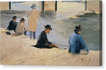 Men Fishing From A Jetty Canvas Print by Georges Pierre Seurat