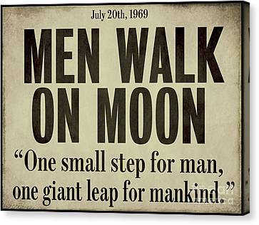 Men Walk On Moon Newspaper Canvas Print by Mindy Sommers