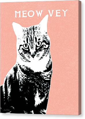 Meow Vey- Art By Linda Woods Canvas Print by Linda Woods