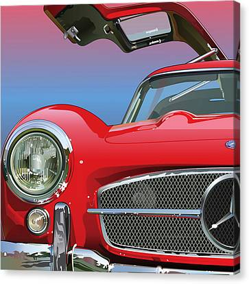 Mercedes 300 Sl Gullwing Detail Canvas Print by Alain Jamar