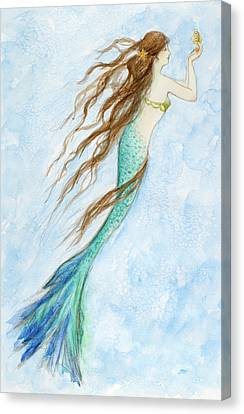 Mermaid And Her Seahorse Canvas Print by Tina Obrien