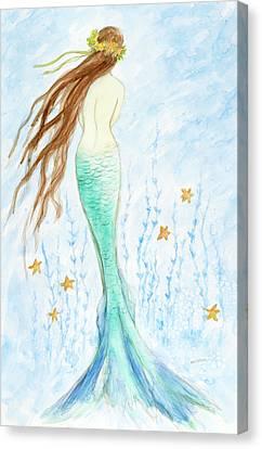 Mermaid In Her Garden Canvas Print by Tina Obrien