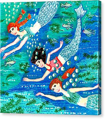 Mermaid Race Canvas Print by Sushila Burgess