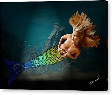 Mermaid With Gold Ball Canvas Print by Tray Mead