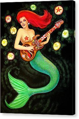 Mermaids Rock Tiki Guitar Canvas Print by Sue Halstenberg