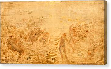 Mermaids Under Water Canvas Print by Felix Ziem