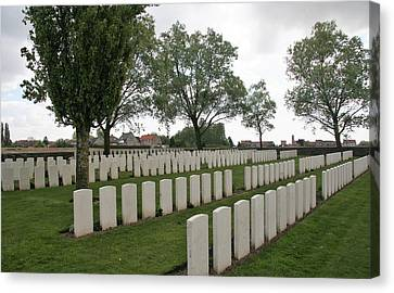 Canvas Print featuring the photograph Messines Ridge British Cemetery by Travel Pics