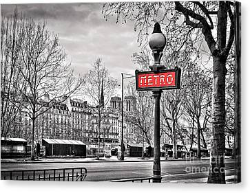 Metro Pont Marie Canvas Print by Delphimages Photo Creations