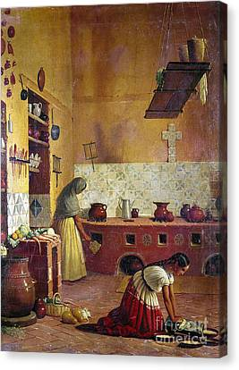 Mexico: Kitchen, C1850 Canvas Print by Granger