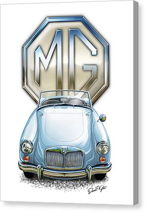 Mga Sports Car In Light Blue Canvas Print by David Kyte