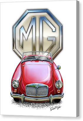 Mga Sports Car In Red Canvas Print by David Kyte
