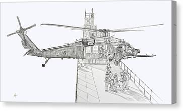 Mh-60 At Work Canvas Print by Nicholas Linehan