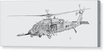 Mh60 With Gun Canvas Print by Nicholas Linehan