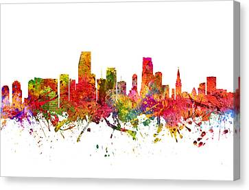 Miami Cityscape 08 Canvas Print by Aged Pixel