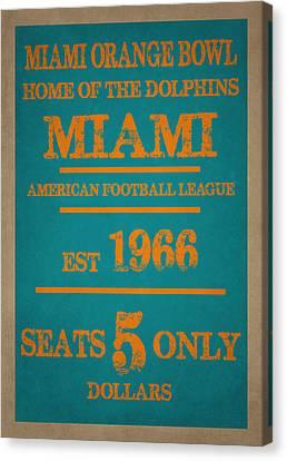 Miami Dolphins Sign Canvas Print by Joe Hamilton