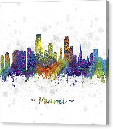 Miami Florida Skyline Color 03sq Canvas Print by Aged Pixel
