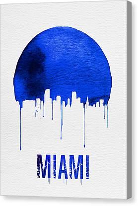 Miami Skyline Blue Canvas Print by Naxart Studio