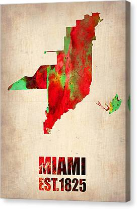 Miami Watercolor Map Canvas Print by Naxart Studio