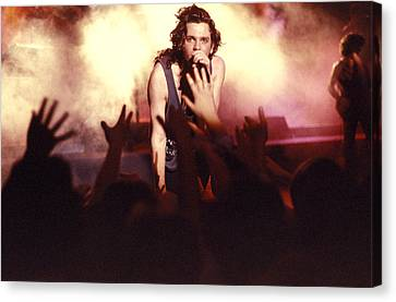 Michael Hutchence And Inxs 1985 Canvas Print by Sean Davey